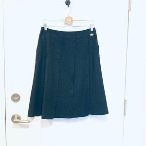 Chanel Pleated Wool & Cashmere Black Skirt, Size M